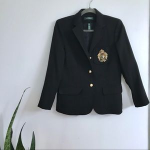 Lauren Ralph Lauren Embroidered Crest Wool Blazer